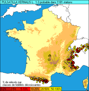 Carte de la flore probable pour ce taxon